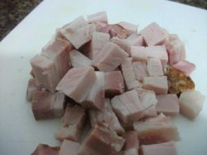Bacon com gorduras Gelado